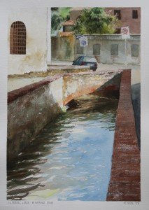 The Via del Fosso: a watrcolor by Matthew Daub