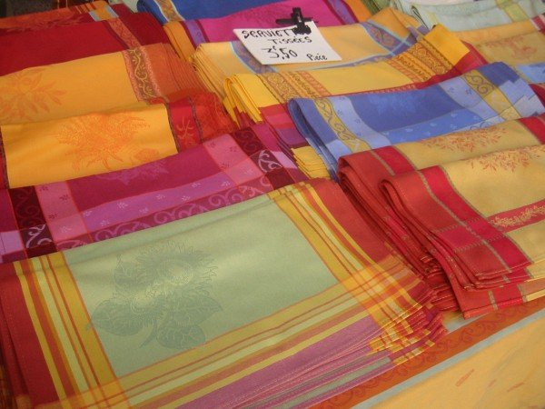 Colorful fabrics at the Gordes market