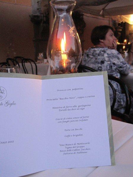 Ristorante Giglio set menu for the Luminara