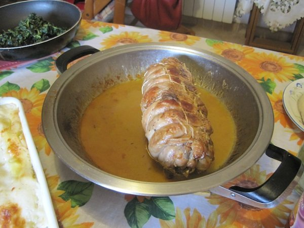 Roast stuffed rabbit (boned by Gabriella)