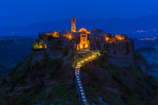 The medieval hill town of Civita di Bagnoregio (with 12 inhabitants in the winter) in Lazio, the region next to Tuscany.