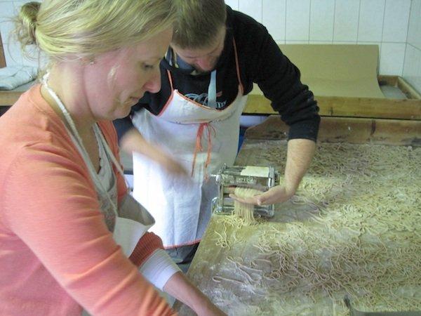 Cutting farro pasta