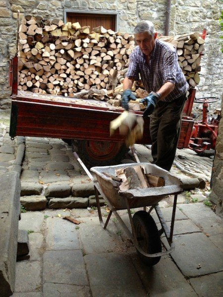 Domenico's wheelbarrow is 50 years old and still going strong