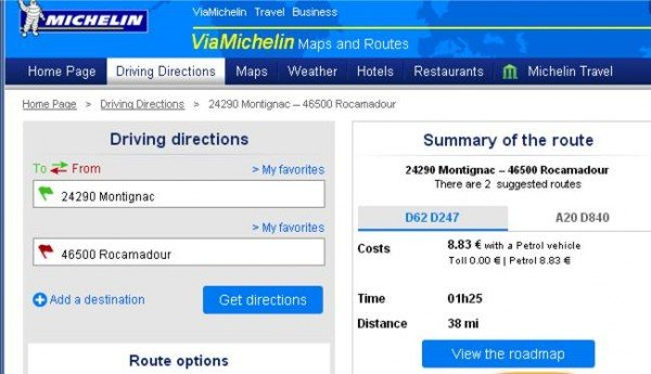 Via Michelin gives mileage costing and timings for journeys