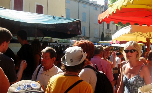 Be alert in crowded places like this market.