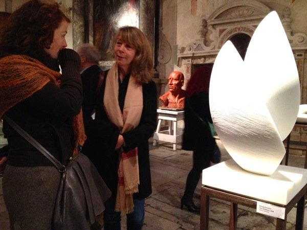 Inger Sannes (right) with her sculpture 'Creation'