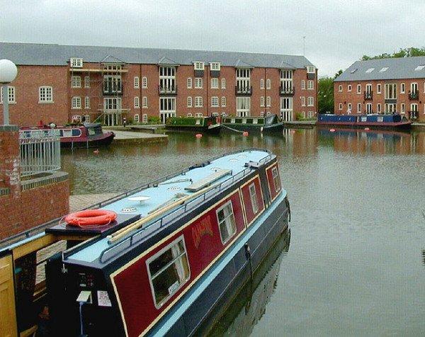 Narrowboats in an English city