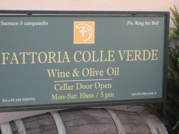 Tasty sign welcomes you to Fattoria Colleverde