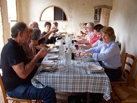 We deserve a good lunch after our hard work picking olives