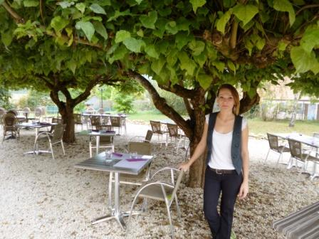 Elena, our lovely 'serveuse' in the shady dining courtyard of Les Terrasses.