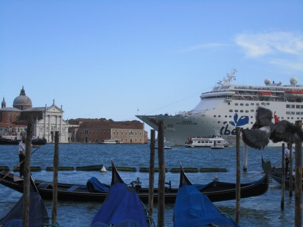 "Massive cruise ships now dwarf the ""skyline,"" but cannot overpower the magic of Venice."
