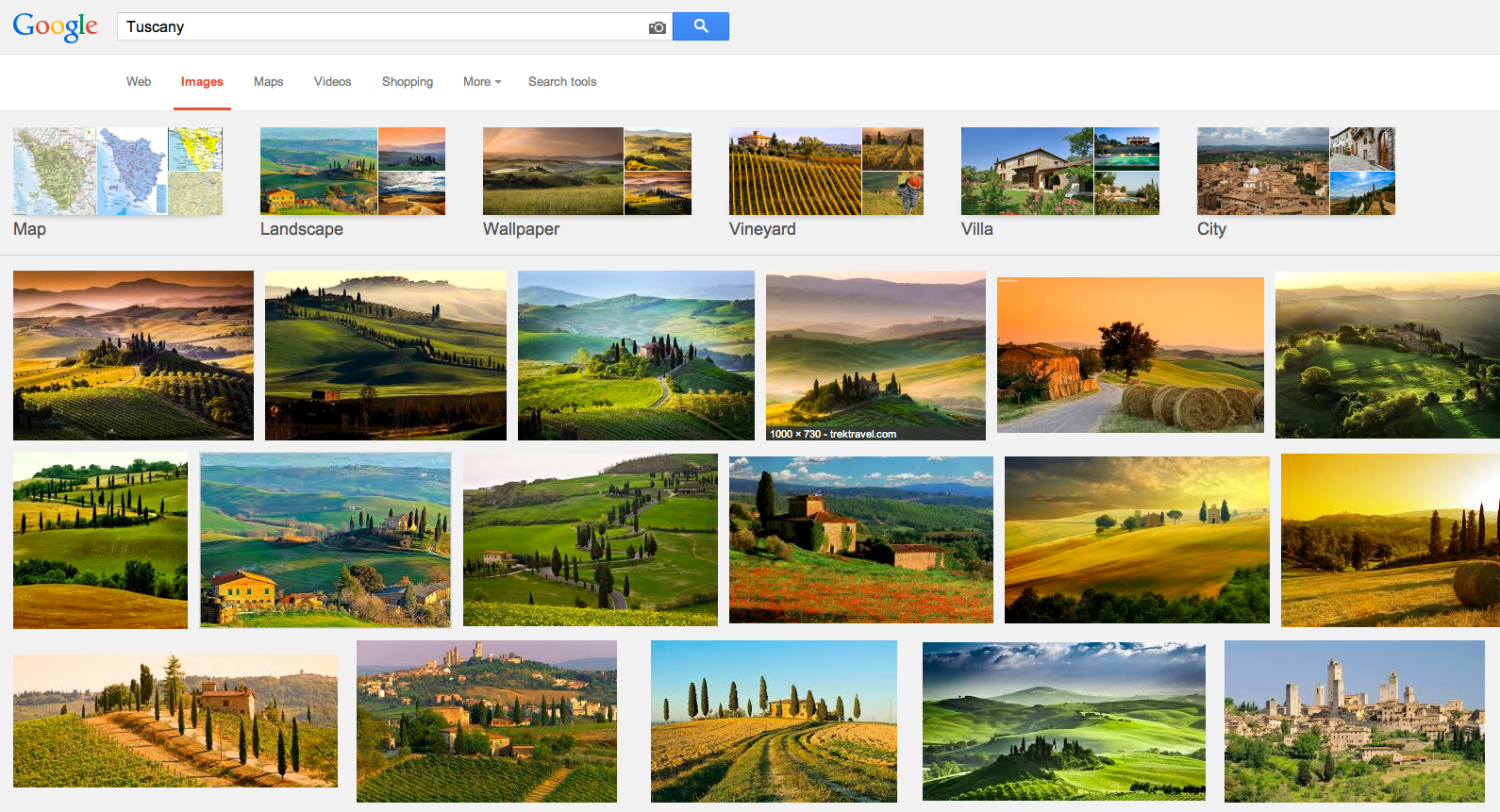 A search on Google for photos of Tuscany.