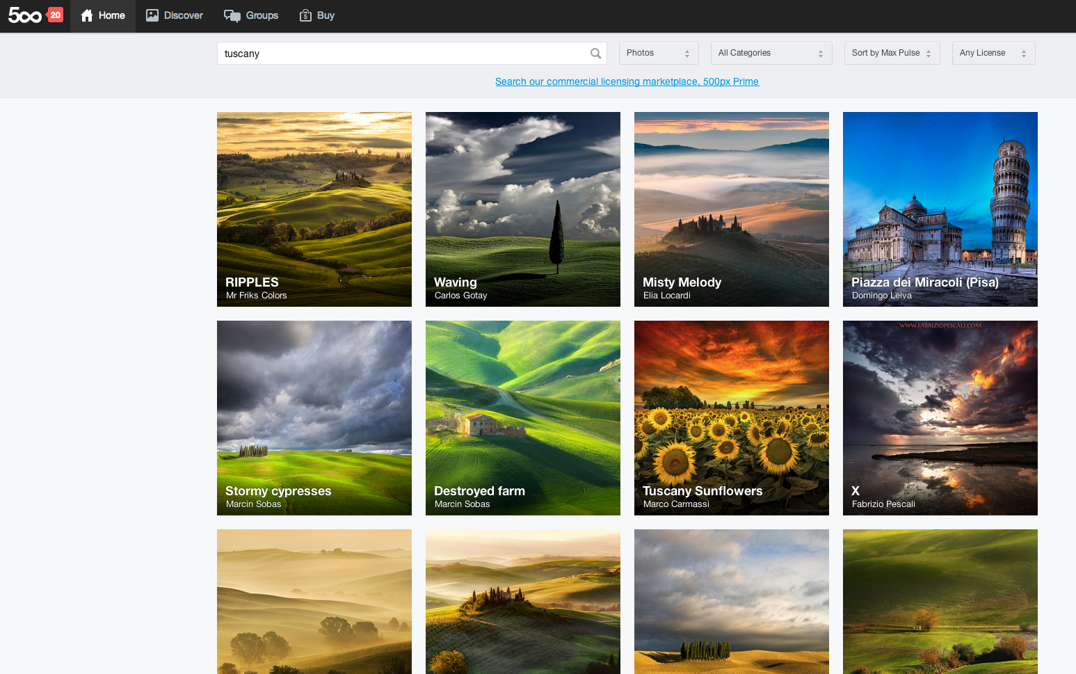 A search on 500px for photos of Tuscany.