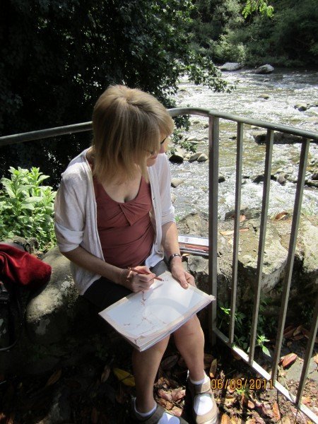 Barbara drawing by the River Lima in Bagni di Lucca