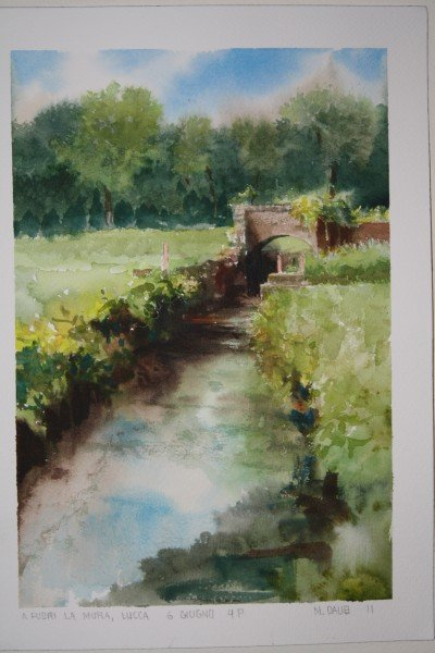 A watercolor painted by Matthew Daub just outside the walls of Lucca