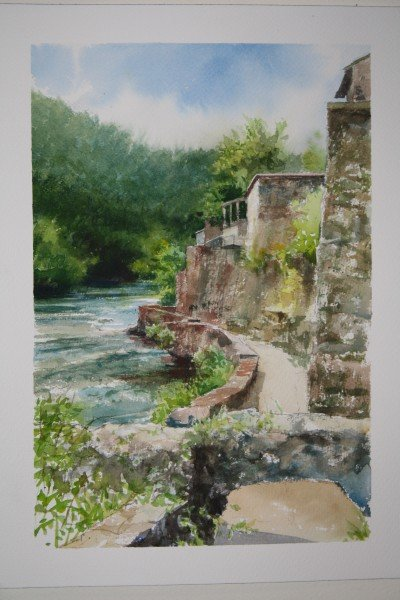 A watercolor painted along the Lima by Matthew Daub