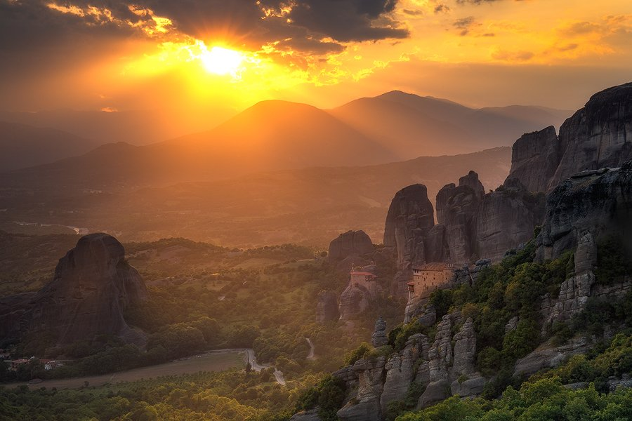 Sunset at Meteora, Greece.