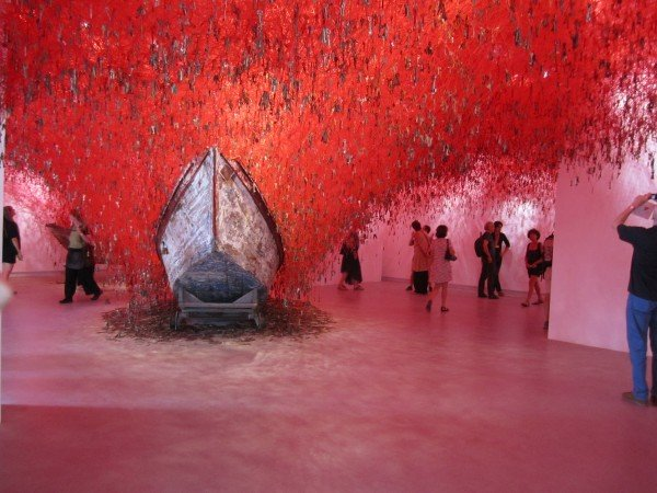 The amazing Japanese Pavilion. Thousands of keys suspended on red wire.