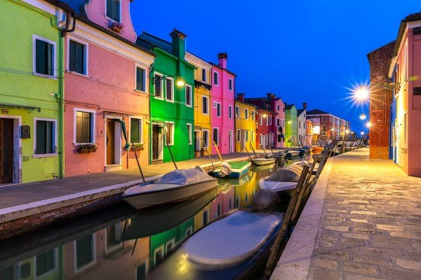 burano,venice,italy,blue,hour,colorful