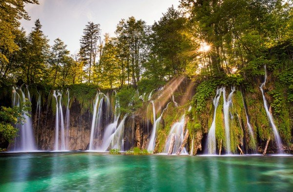 waterfalls, lake, Plitvice, Croatia