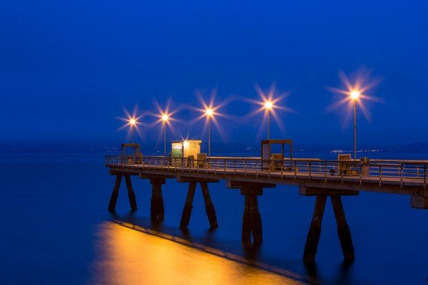 blue hour, edmonds, washington