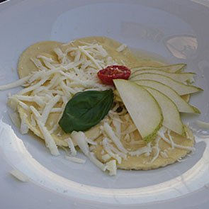 Ravioli with pears and pecorino