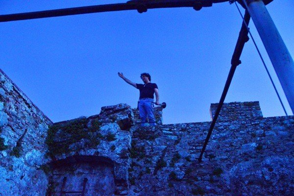 Giovanni with his trumpet at the top of the tower