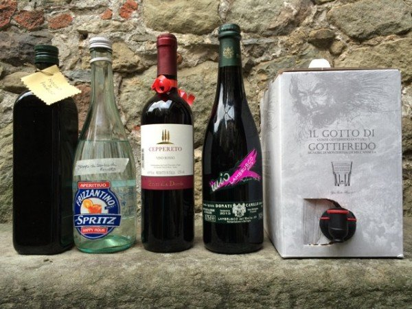 Wine and digestivi: four bottles and a 'bag in box'