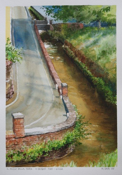 At the south end very near the botanical gardens the ditch makes a shape bend. I painted this from atop the city wall.