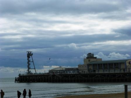 Brave souls ride the zip wire over the sea from the end of Bournemouth Pier!