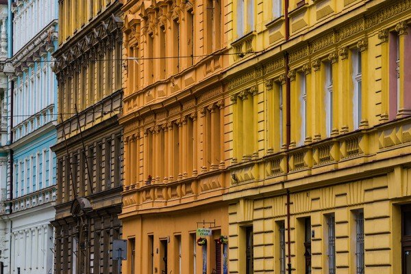 Prague, colorful buildings
