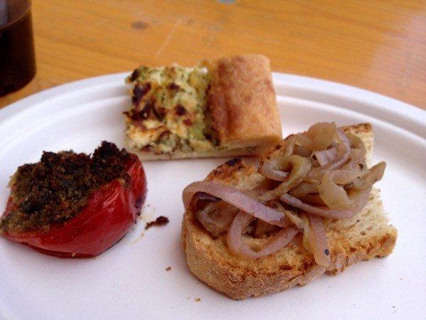 Crostino with Tropea onion, potato tart and stuffed tomato