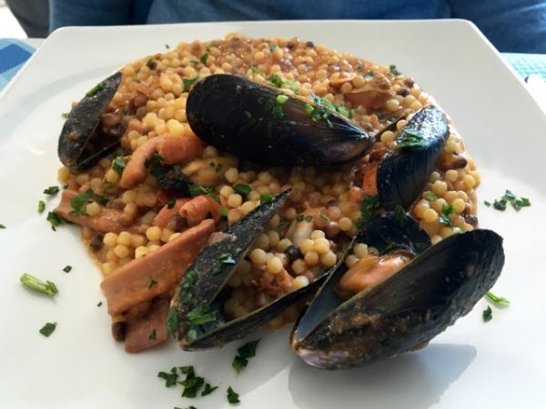 Fregula, a Sardinian pasta, with fresh caught seafood