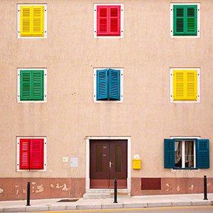 Colorful facade in the village of Vrsar in Croatia