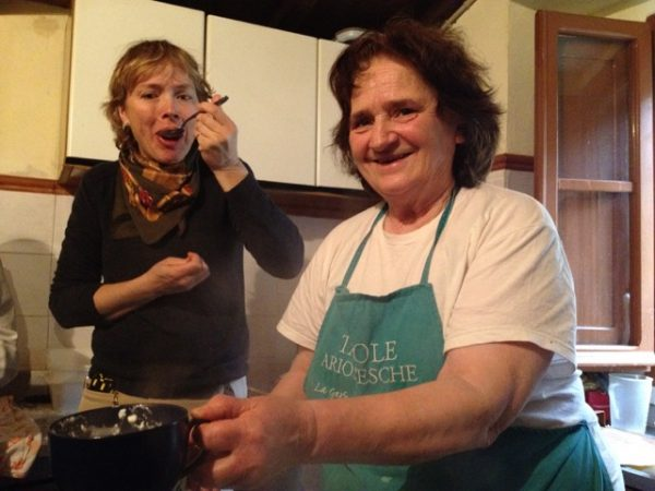 Gemma offers her freshly made ricotta to Marcia. Yummy!