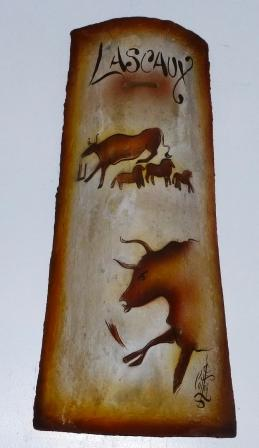 Lascaux scene on a roofing tile