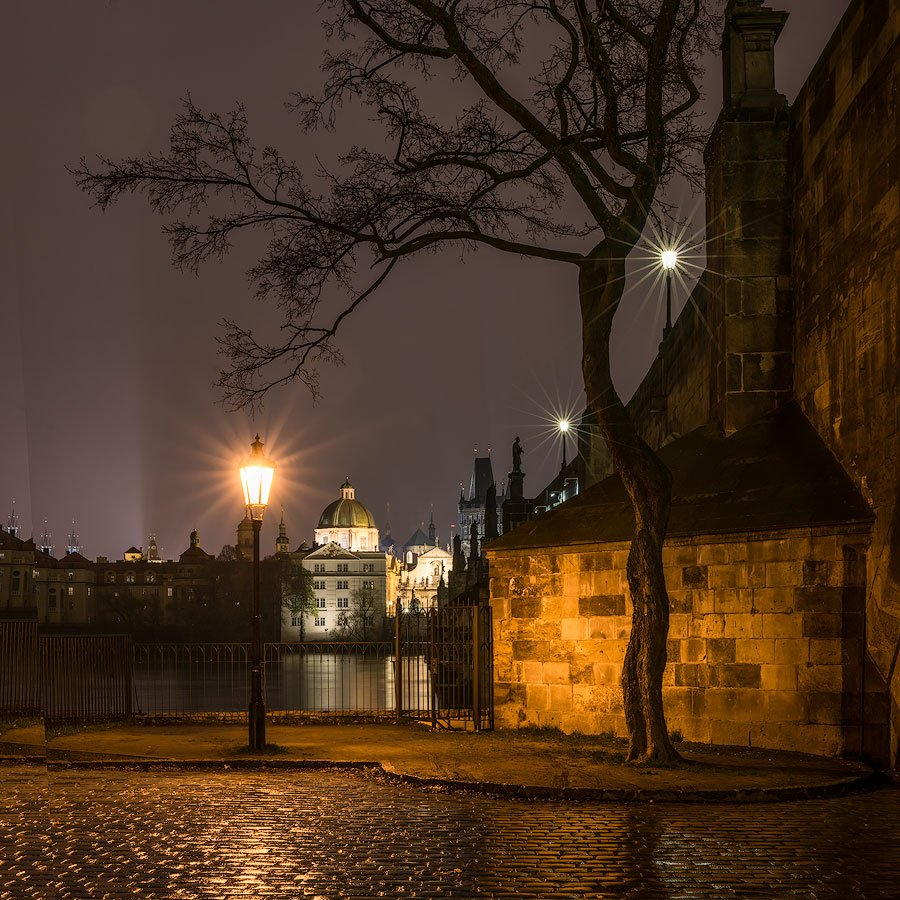 charles bridge, night, rain, prague, czech republic