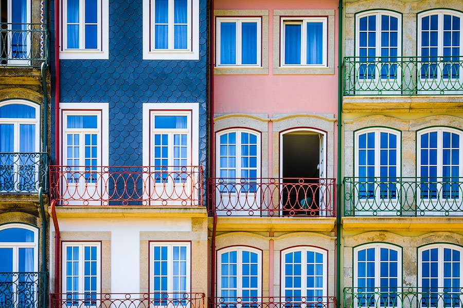colorful architectural detail, porto, portugal