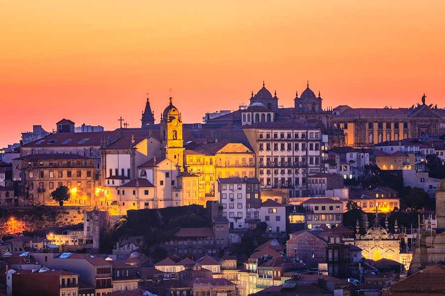 porto Portugal at sunset