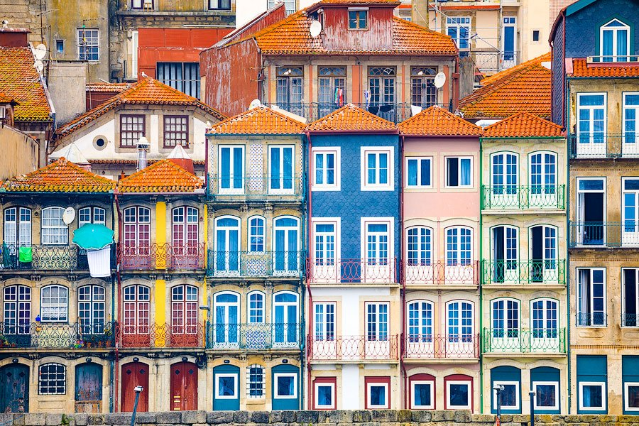 colorful architecture, porto, portugal