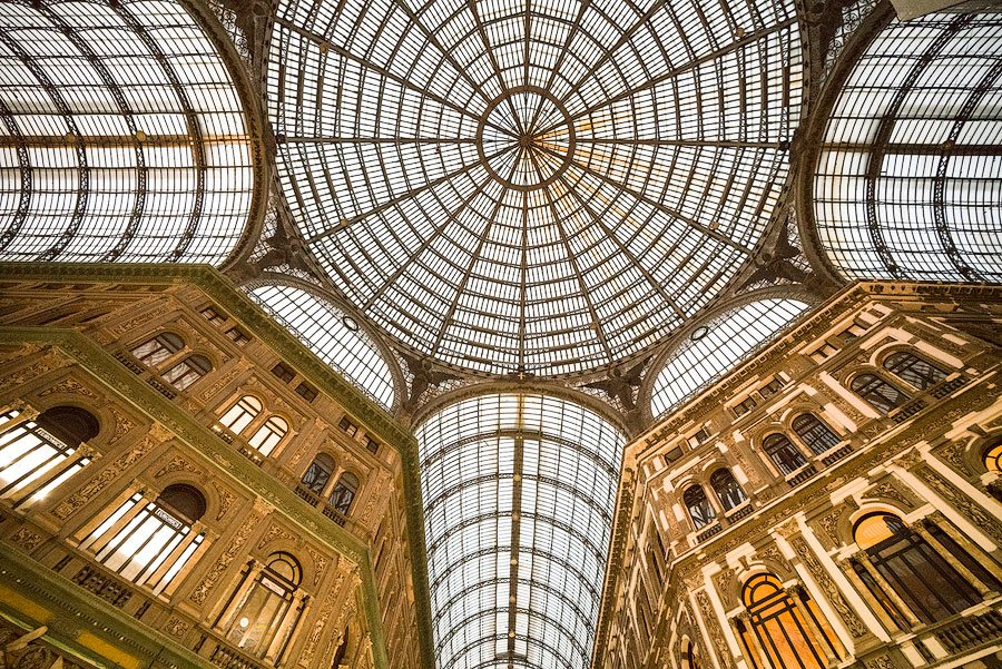 The famous Galleria Umberto shopping mall in Naples, Italy
