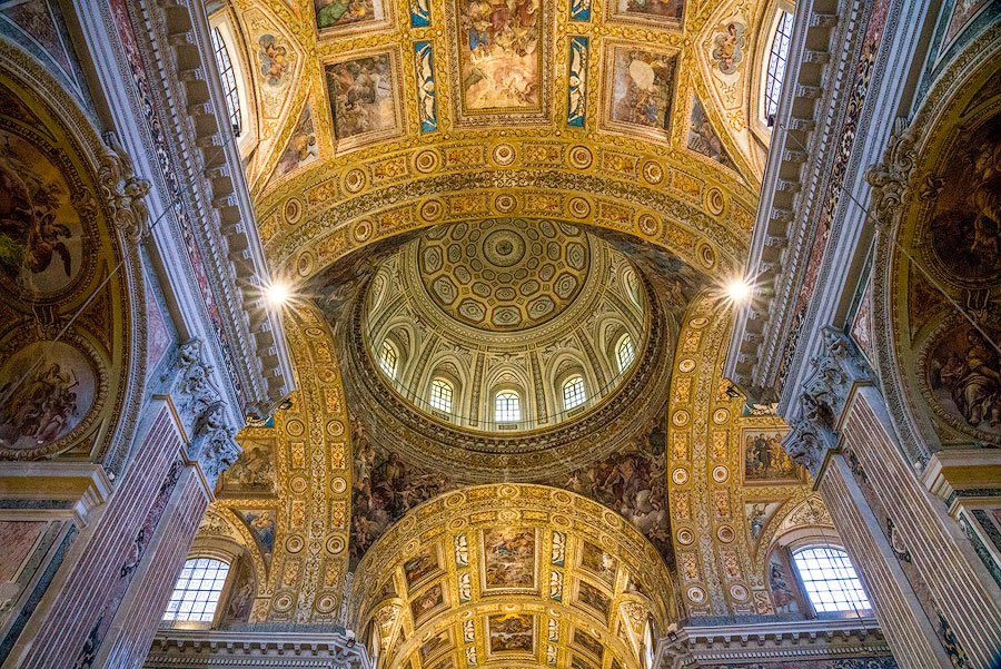 The glorious interior of Gesu Nuova in Naples, Italy