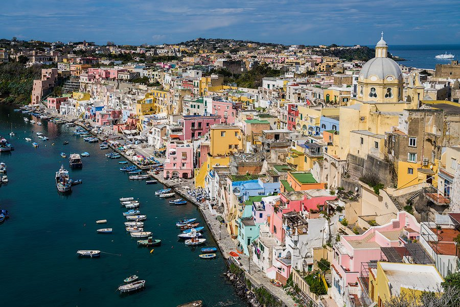 Colorful houses in the Marina Corricella on Procida, Italy