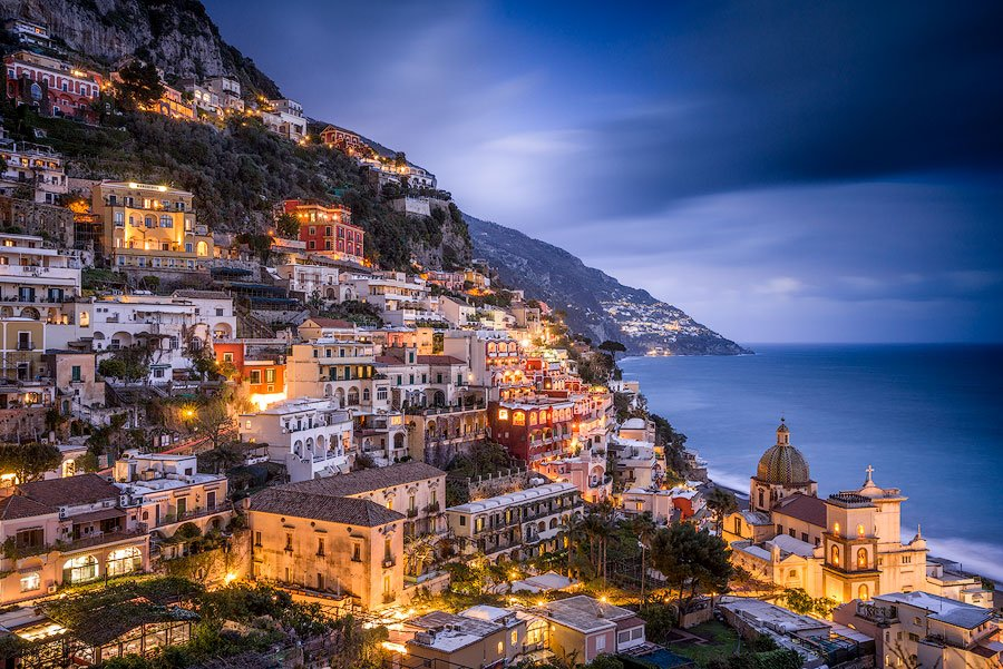 Positano, Italy, at night