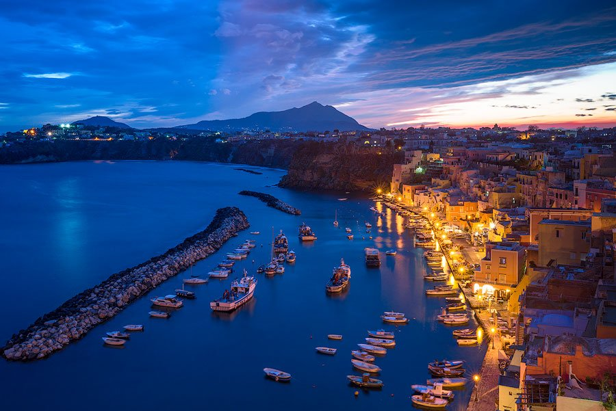View of the harbor on Procida, Italy, at night