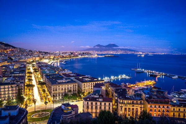 naples, night, blue hour, italy