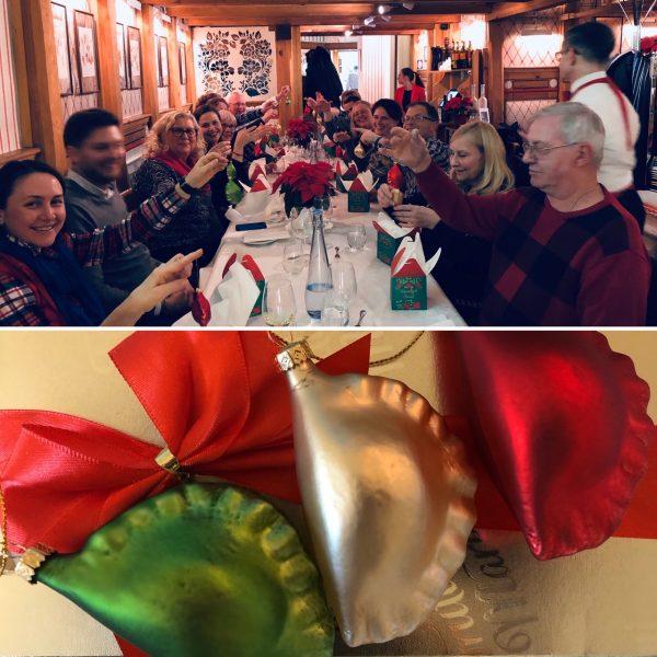 Farewell dinner in Krakow - Pierogi Christmas ornaments