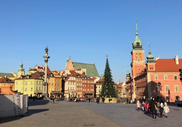 One of the Christmas trees in Warsaw's Old Town