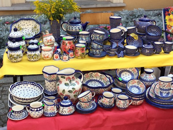 Variety of Polish Pottery pieces for sale at the festival.