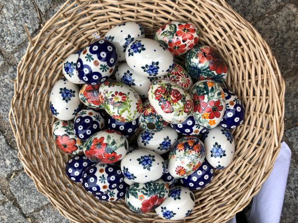 Easter eggs with Polish Pottery design pattern for purchase at the festival.